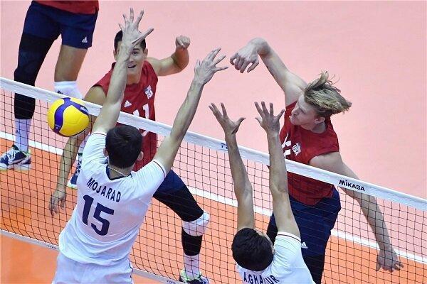 شکست تیم ملی والیبال ایران برابر آمریکا در ست سوم